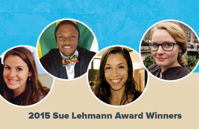 A rectangular image with a blue and brown background featuring four head shots of young teachers, announcing them as the 2015 Sue Lehmann Fellowship winners.