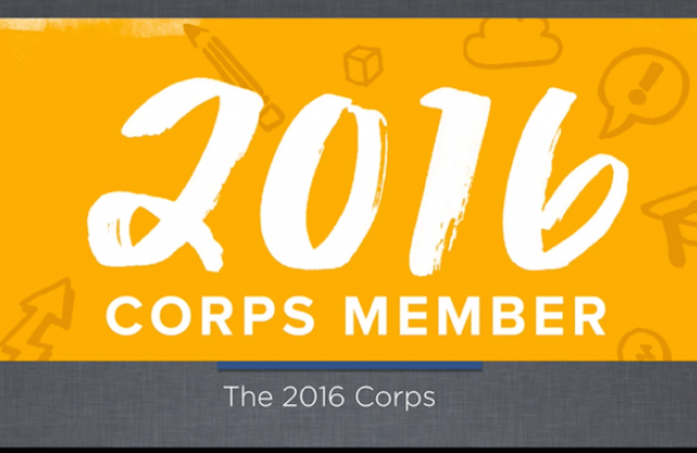 "A rectangular logo with a yellow background and white text reading ""2016 Corps Member."""