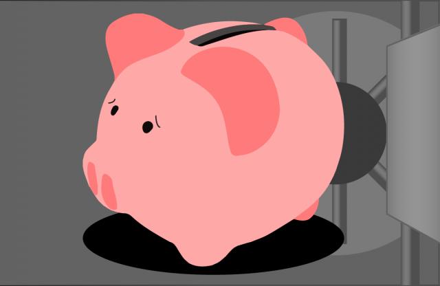 A cartoon of a piggy bank inside a gray safe.