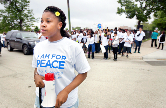 Student leader Janeya Cunningham at the 'I Am For Peace' March in 2015