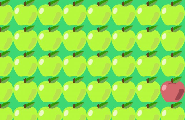 An illustrated pattern of yellow apples with one red apple