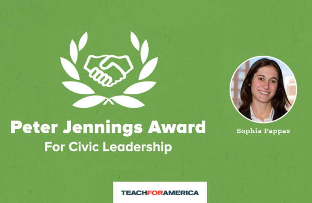 "An icon of two hands shaking within two vine leaves, under which reads ""Peter Jennings Award for civic leadership."" next to a circle with the picture of a woman, smiling, in her twenties, and her name, on a green background."