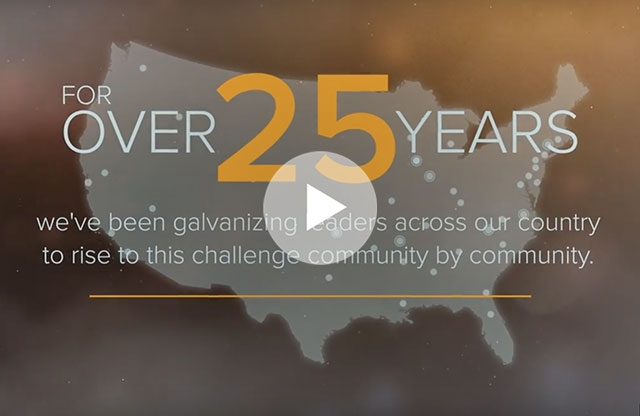 Screenshot of a video featuring a map of the USA with white text discussing 25 years of Teach For America's Successes.