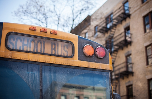 School bus in urban setting