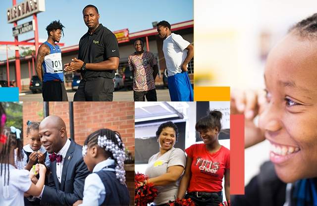 A collage of photos featuring Black alumni, corps members, and staff from the Teach For America network.