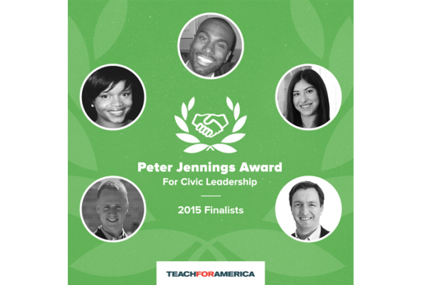 A square logo with a green background, featuring black-and-white head shots of five teachers, and white text announcing they are the finalists for the 2015 Peter Jennings award.