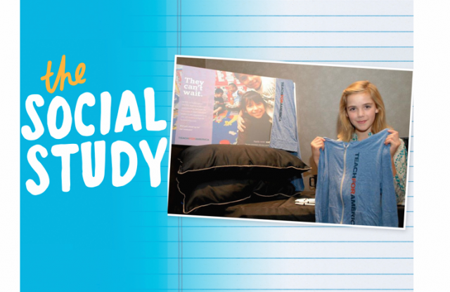 "A rectangular image with a light blue background with an image of a young woman holding a TFA jacket, and white text reading ""The social study."""