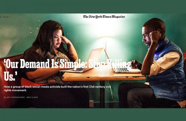 """An image of two high school students at a table with laptops and white text reading """"Our demand is simple. Stop killing us."""""""