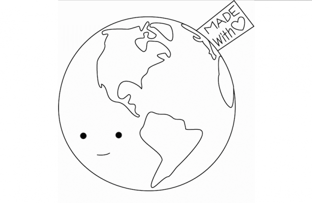 """A square with a white background, featuring a black line drawing of the earth with a smiling face, and a tag saying """"made with love."""""""