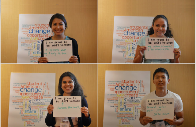 """Four similar images of young female teachers in front of a presentation board, holding personalized signs saying """"I am AAPI because..."""""""