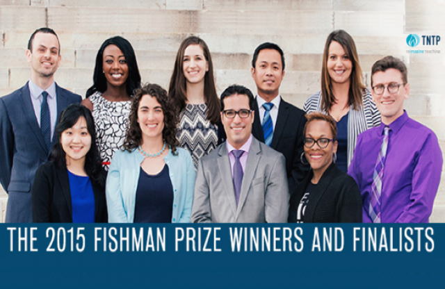 "A group of middle-aged professionals posed for a group shot, all smiling, with white text reading ""the 2015 Fishman Prize Winners and Finalists."""