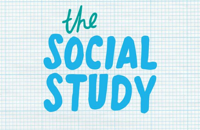 """A rectangular logo with a graph paper background featuring blue text reading """"The Social Study."""""""