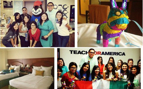 Images of a group of young female teachers posing with a mascot, a pinata, an empty hotel room, and young teachers smiling underneath a Teach for America logo.