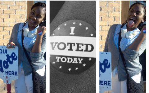 "Two shots of a happy young woman with long black hair holding a ""Vote here"" sign and a black button reading ""I voted today."""