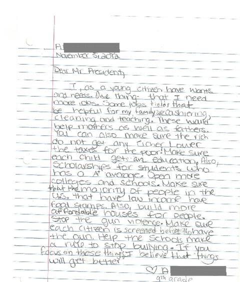 A black and white image of a high school student's letter to the president, asking for ideas to help working parents and income inequality.