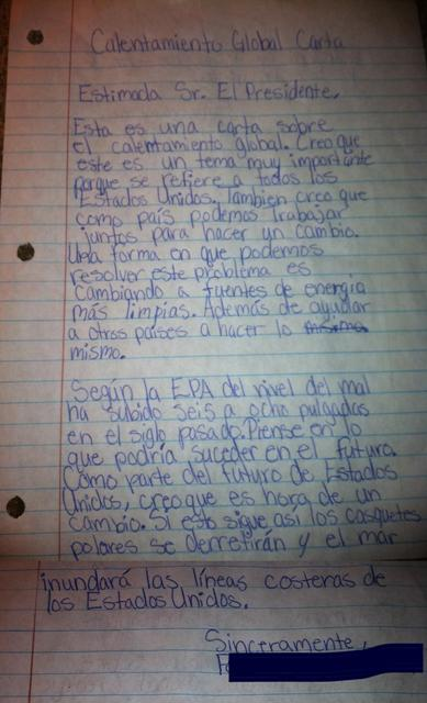 A middle-school student's letter to the president, in Spanish, asking about solutions to global issues.