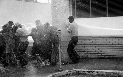 A black and white photo from the 1960s showing black protestors being sprayed by a fire hose.