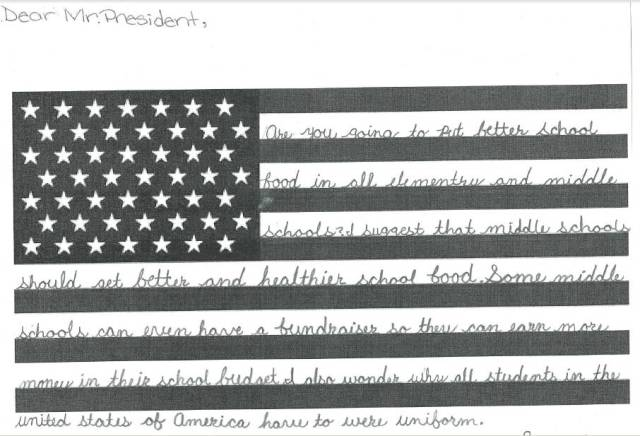 A child's letter to the president asking for uniform school lunches for better health and fairness.