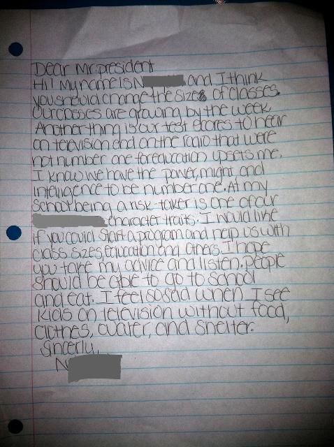 A middle-school student's letter to the president asking for smaller class sizes.