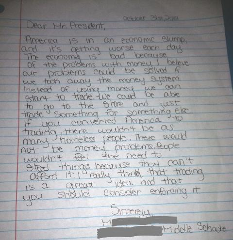 A middle-school student's letter to the president asking for a solution to the economic trouble brought about by income inequality.