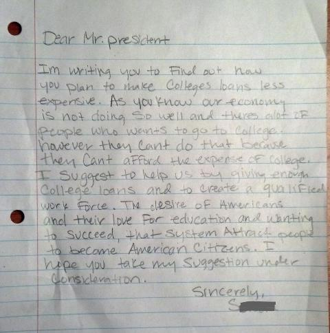 A 9th grader's letter to the president, asking for better supports for college affordability.