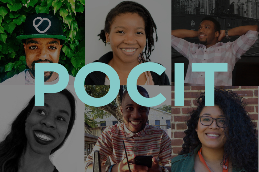 A collage of six images of smiling black youth and adults, behind text reading POCIT