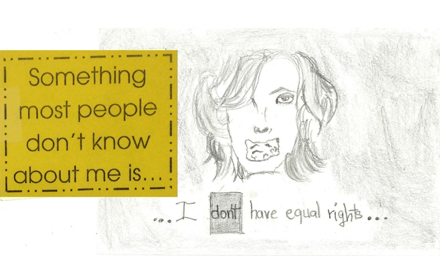"A pencil drawing of a muted face, with text reading ""something people don't know about me: I don't have equal rights."""