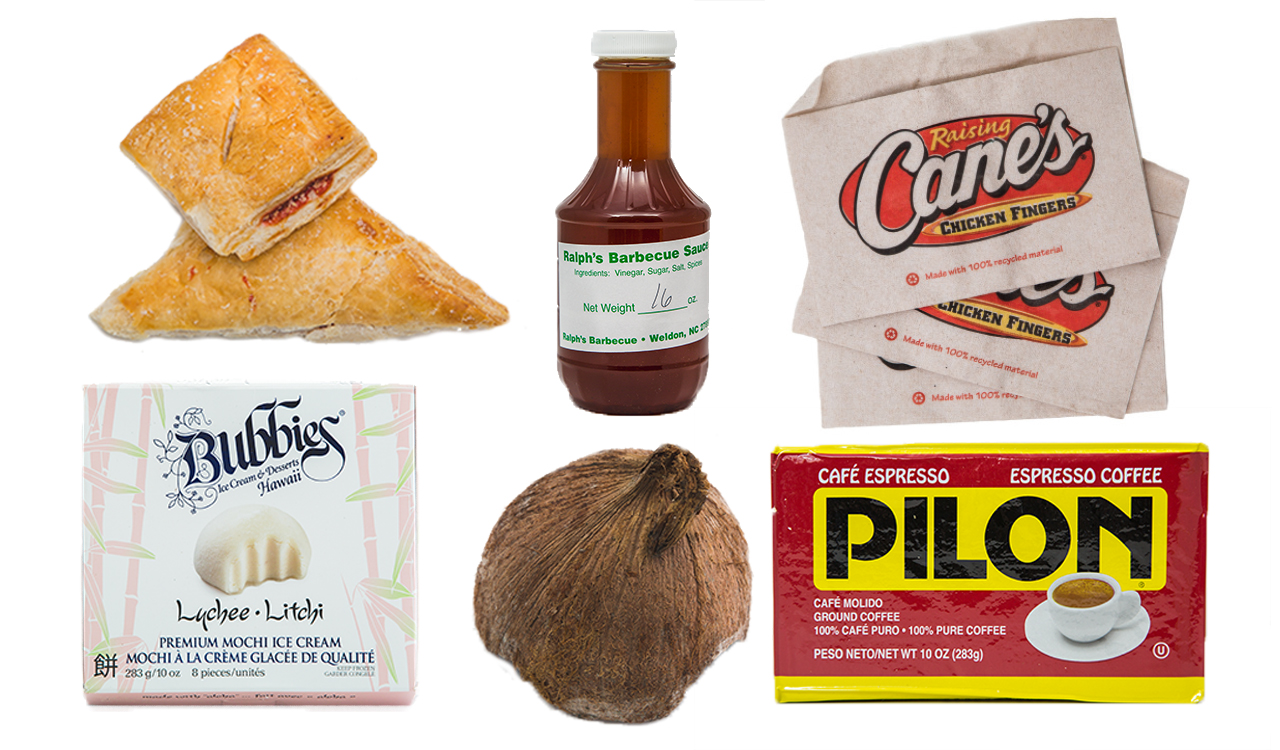 Six food items lined next to each other: a raspberry danish, jar of Ralph's BBQ sauce, Raising Cane's napkins, box of lychee ice cream, an unpeeled coconut, and package of Pilon espresso coffee.