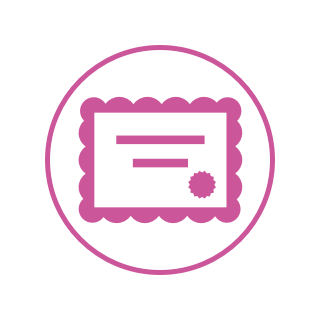 Icon of a pink certificate.