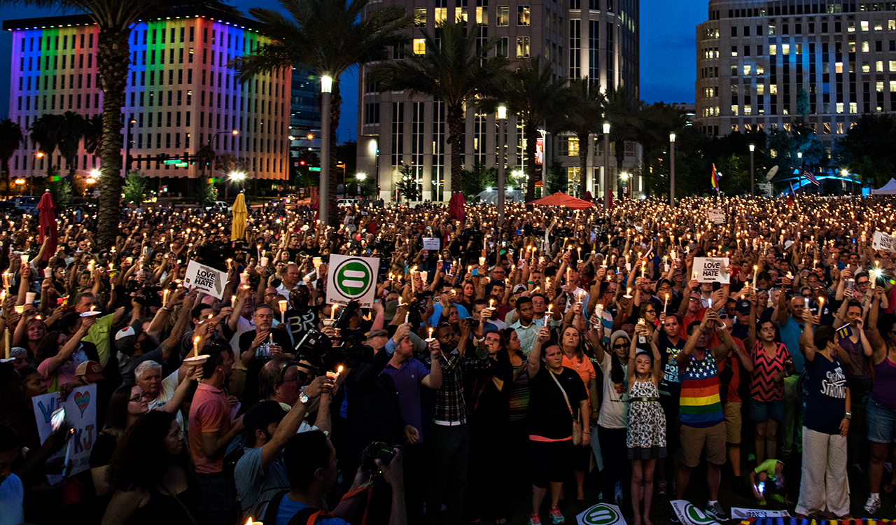 A group of people at a vigil in Orlando