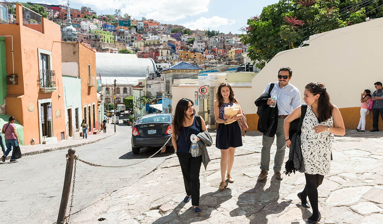 A group walk through Guanajuato, Mexico