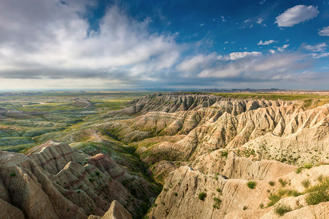 Panoramic photo of South Dakota badlands