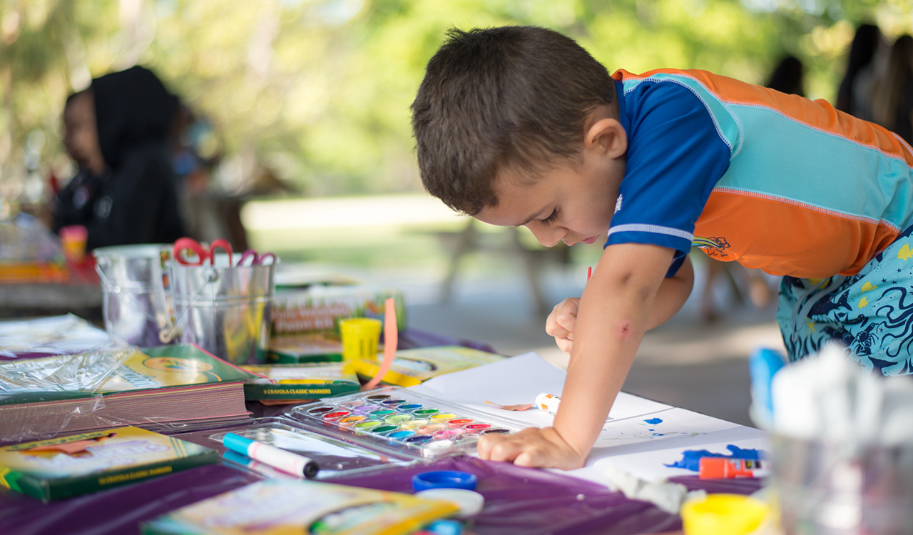 A kid painting