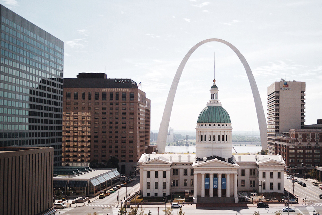 The St. Louis city skyline, featuring the Gateway Arch