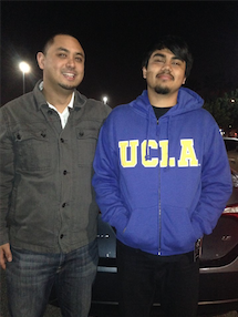 Ricardo (right) with his fourth-grade teacher, Ryan Maquiñana (Los Angeles '05).