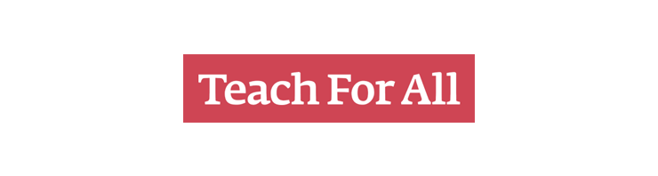 "A rectangular logo with a red background and white text reading ""Teach for All."""