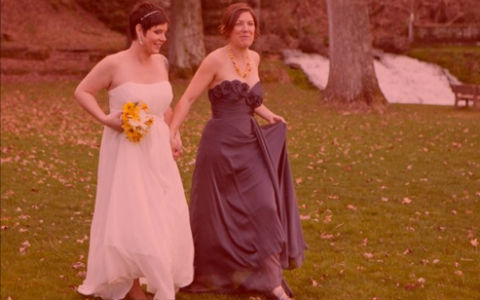 A young woman with short brown hair in a white wedding dress walks hand-in-hand with a young woman with longer brown hair in a blue wedding dress, through a field.