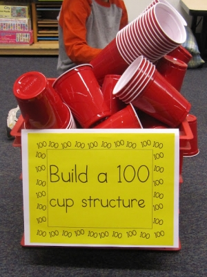 100th day of school paper cup structure