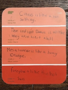 how to engage student senses with paint chip poetry